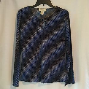 Black Blue White Long Sleeve Blouse Top Small